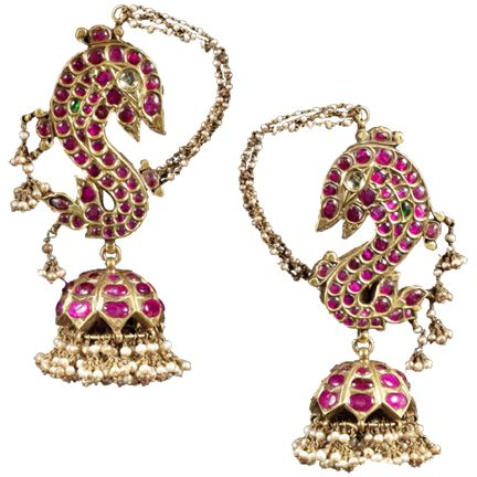 A Pair of Ruby and Pearl Earrings South India 19th Century SOLD