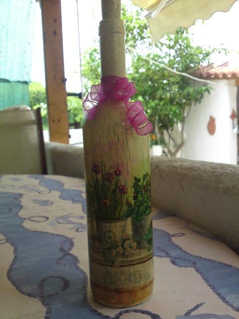 Aussi Dimi decoupage: Μπουκαλια με την τεχνικη ντεκουπαζ!