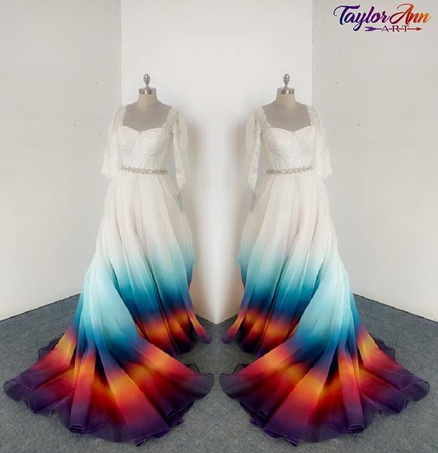 This Painted Wedding Dress Organza Tulle Probably My Most Complicated Design To Date Dip Dye Wedding Dress Dye Wedding Dress Rainbow Wedding Dress