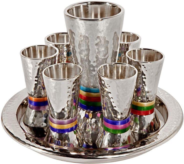 Set 6 Cups Kiddush Cup - Nickel Hammerwork - Colored Rings