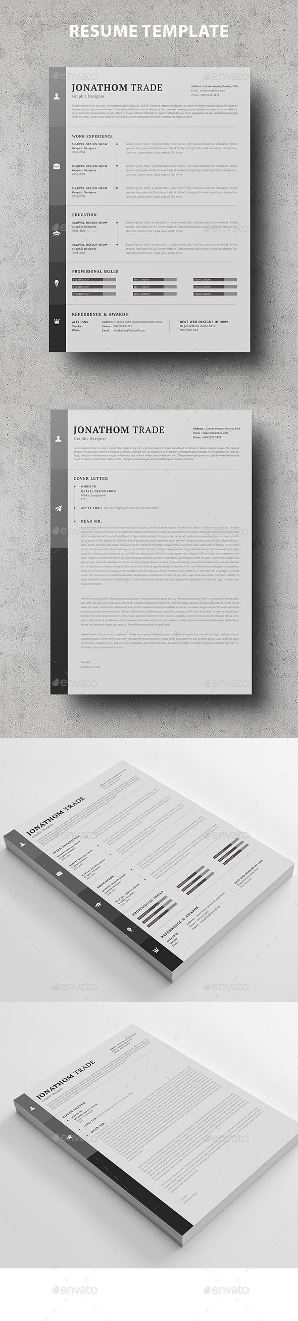 Resume Template PSD MS Word 238 best