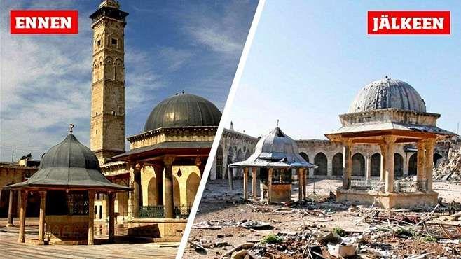 Aleppo before and after (2016) Aleppon yksi tärkeimpiä nähtävyyksiä on vanhassa kaupungissa sijaitseva suuri moskeija, joka tunnetaan myös nimeltä Umayyandin moskeija.