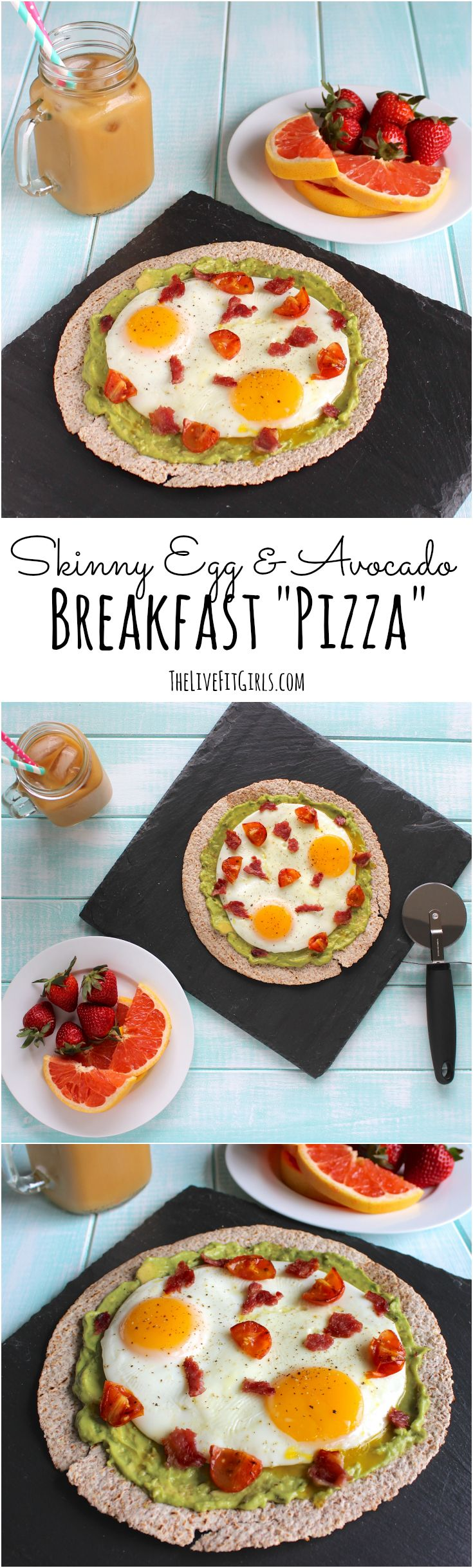 This Skinny Egg & Avocado Pizza is the PERFECT breakfast for busy mornings! Only takes 5 minutes!