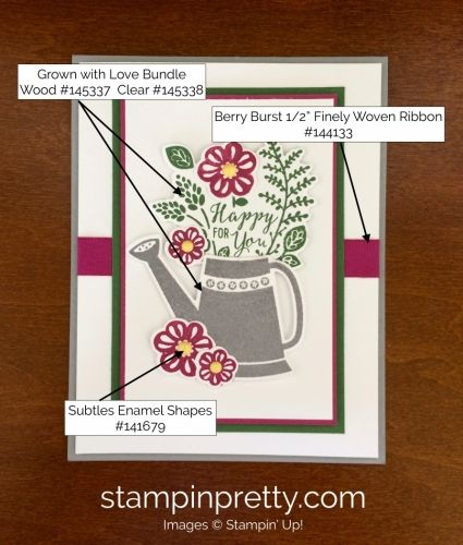 Grown with Love Stamp Set & Garden Grown Framelits Dies Love & Friendship Card.  Mary Fish, Stampin' Up! Demonstrator.  1000+ StampinUp & SUO card ideas.  Read more https://stampinpretty.com/2017/07/flower-fresh-grown-with-love-card.html