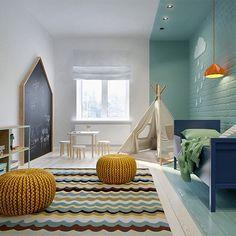 Bom dia!! Quarto de #criança by @int2architecture Adorei o detalhe do tom de azul ir além da parede e avançar para teto, chão e laterais, criando uma separação sutil de espaço #ahlaemcasa #3D #quartodecriança #quartodemenino #kidsroom #mintcolor