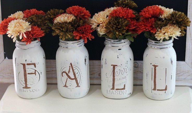 bricolage maison de déco d'automne en bocaux anciens peints de style shabby chic