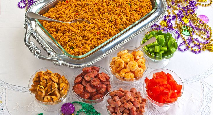 Ultimate Jambalaya Bar  Take gameday festivities to a whole new level with Ultimate Jambalaya Bar recipe. Mix in sautéed onions, green pepper, and meat of your choice to put everyone in a winning mood. Feeding a crowd? Double up the recipe.