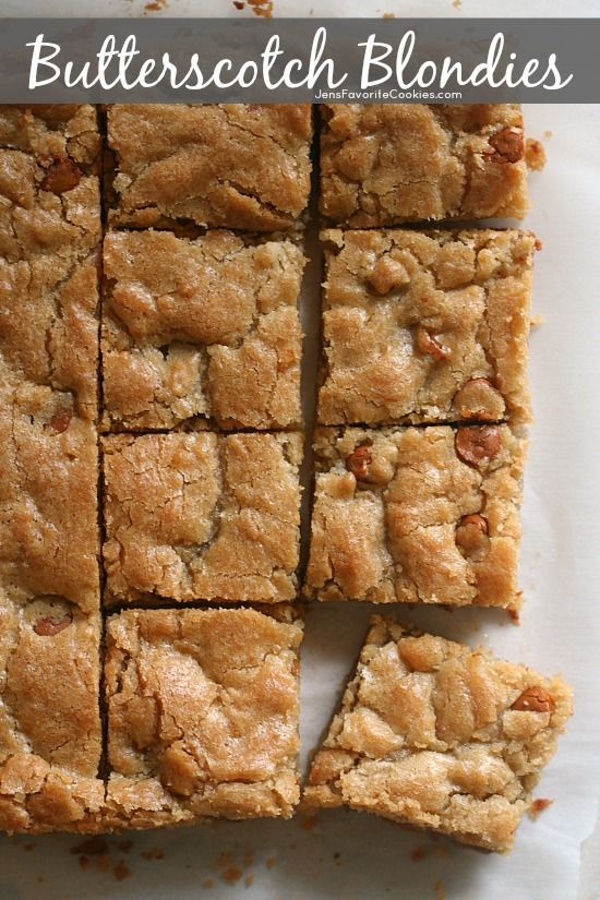 Butterscotch Blondies from https://JensFavoriteCookies.com - A PERFECT basic blondie recipe with butterscotch chips.