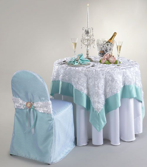 Allure From The Tablecloth Co. Love The Aqua Edging On The Overlay.  Beautiful