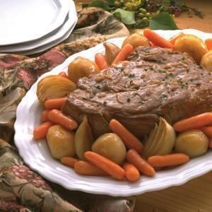 Best Pot Roast Ever: 3-4 lb. Chuck Roast 1 Box/2 pks Lipton Onion/Mushroom Soup Adolph's Meat Tenderizer Flour Celery/Onions/ Carrots Dice veggies & put in bottom of Dutch Oven. Lightly sprinkle tenderizer on roast on both sides~ roll in flour, including sides. Brown on all sides in oil to seal in juices. Put roast on top of veggies. Mix BOTH pkgs. of Lipton soup with 8 cups warm water & pour over roast & veggies. Cover & bake @ 325 degrees for 3.5 hrs or until your desired tenderness.
