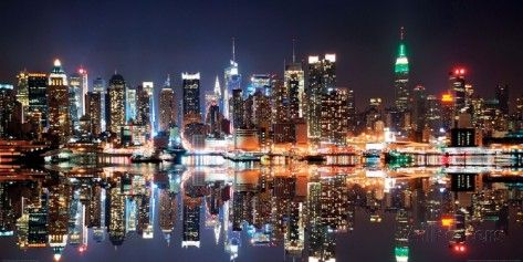New York City Skyline at Night Poster by Deng Songquan at AllPosters.com
