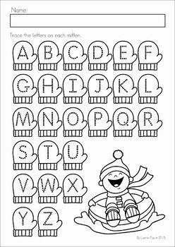 Winter Preschool Math and Literacy No Prep worksheets and activities. A page from the unit: mitten alphabet tracing