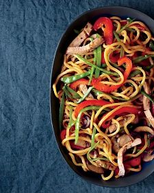 Pork Lo Mein: If you can't find lo mein at the grocery store, you can substitute spaghetti.  Also, there's a lot of meat in a pork loin, so if you have any leftovers, freeze them to use later in a quesadilla or sandwich for lunch or a quick dinner.
