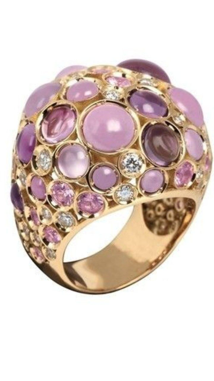 White gold diamond ring piaget luxury jewellery g34ut300 - Chantecler Ring Set In 18k Pink Gold Amethyst Phosphosiderite Pink Sapphires And Diamonds Creations Celebrating The Refined Art Of The Craftsmanship