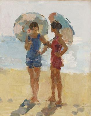 Isaac Lazarus Israels (Amsterdam 1865-1934 Den Haag) Meisjes met parasol op het strand, Viareggio - Kunsthandel Simonis en Buunk, Ede (Nederland).