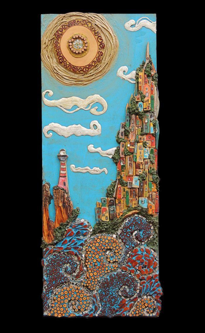 Silvia Logi Artworks - Borgo di mare con faro/Seavill... @GIGARTE.com
