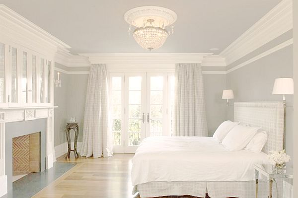Inlike this. even trying a line u der criwn moldubg is pretty........white english country house bedroom with crown molding