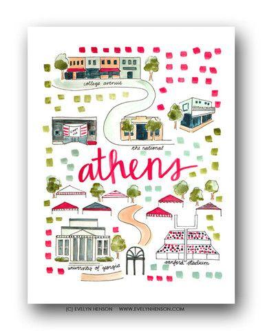 Athens, GA Map Print