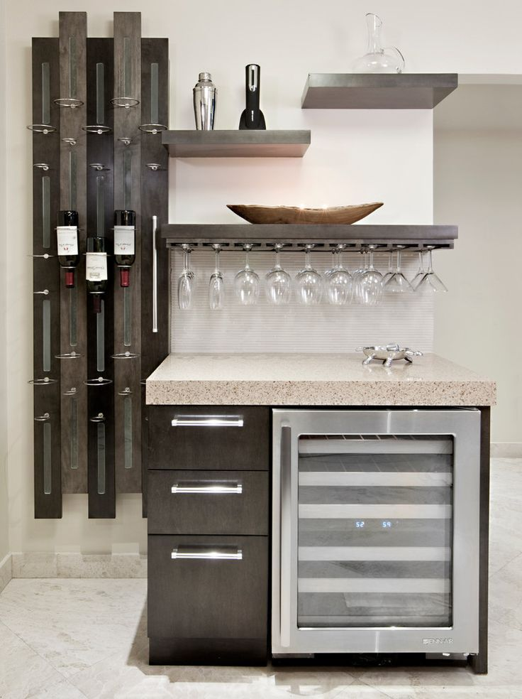 Magnificent Wet Bar decorating ideas for Lovely Kitchen Contemporary design ideas with custom floating shelves hanging glasses hanging wine glasses home bar open shelves @VinoPlease #VinoPlease