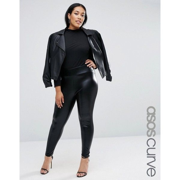 ASOS CURVE HALLOWEEN Wet Look Leggings ($23) ❤ liked on Polyvore featuring pants, leggings, black, plus size, plus size wet look leggings, wet look leggings, high-waisted leggings, elastic waist pants and high waisted leggings
