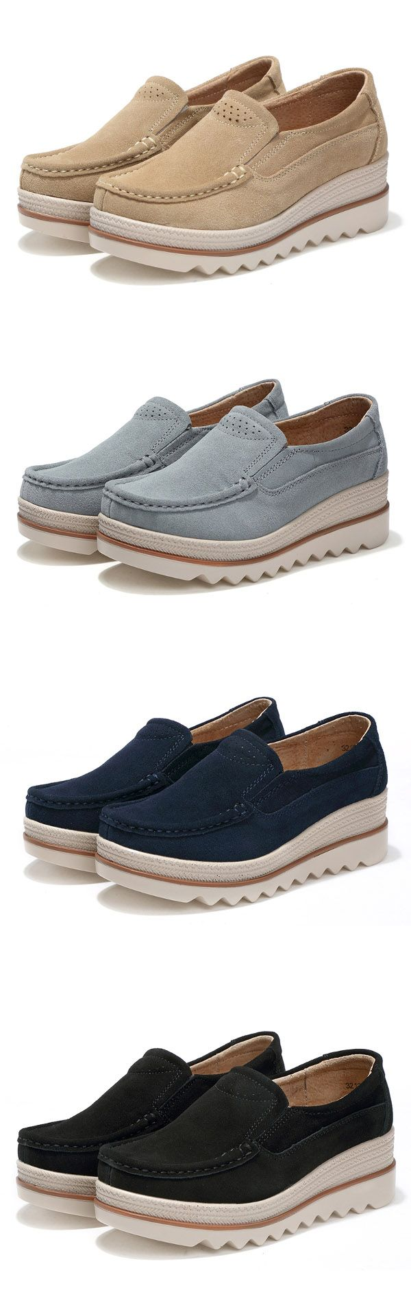 US$27.30 Womens Breathable Suede Round Toe Slip On Platform Shoes #platformshoes #casualshoes #wintershoes