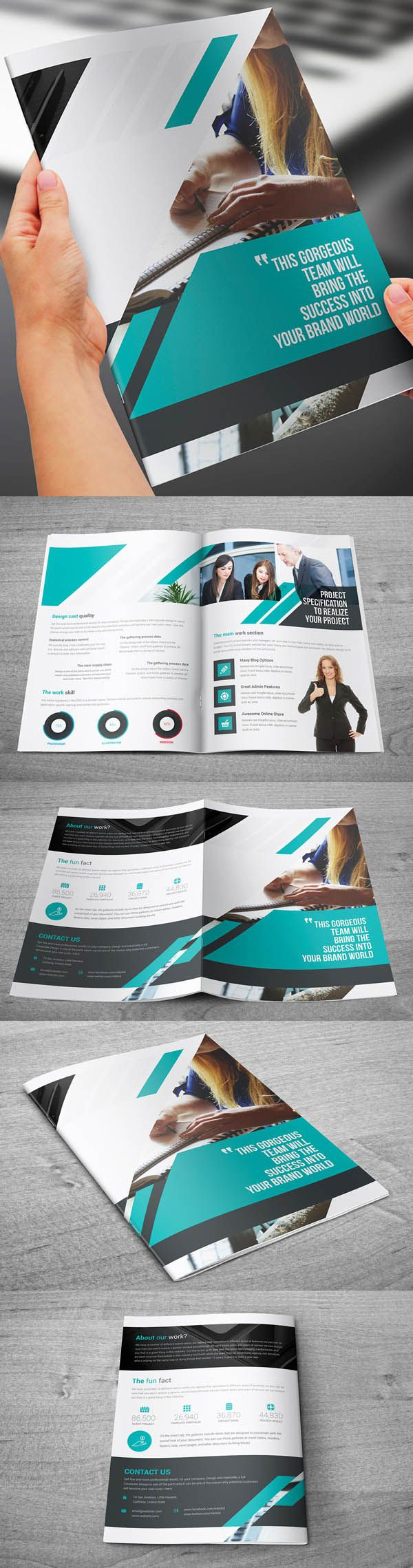 Bi-Fold A4 Corporate Brochure Template                                                                                                                                                      Más
