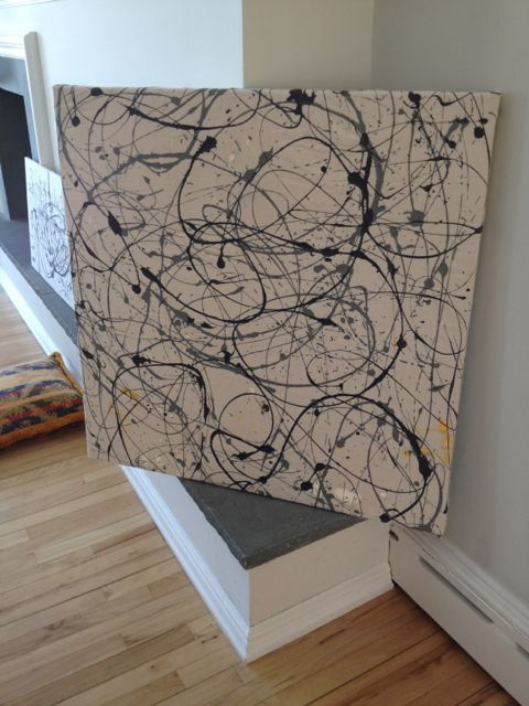Abstract Painting on Canvas 36x36 grey and charcoal