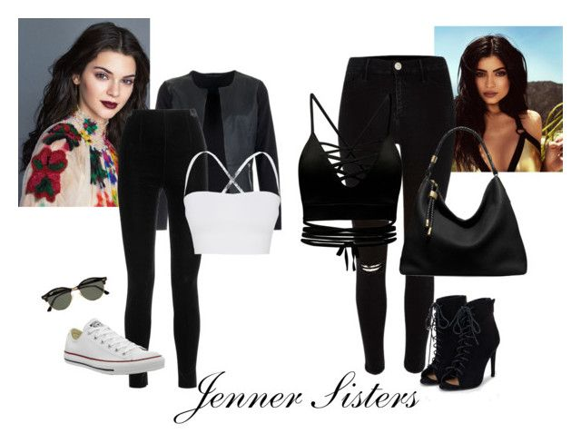 """Jenner Sisters"" by bbriii on Polyvore featuring Topshop, River Island, JustFab, Michael Kors, Ray-Ban, Balmain, Theory and Converse"
