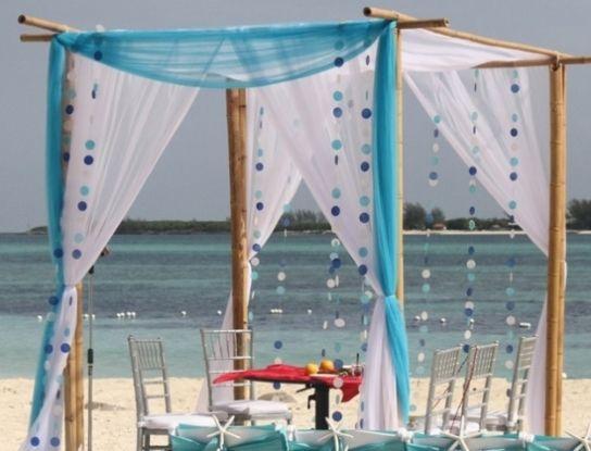 elegant blue beach wedding arch decoration9
