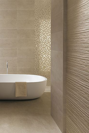 Minimalist bathroom design with textured walls from FCP Ceramics_