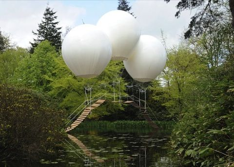 Olivier Grossetête's childlike bridge, which stays above a lake of water with the help of three billowy hot-air balloons filled with helium, induces so much zen we just want to do nothing but stare it at for hours.