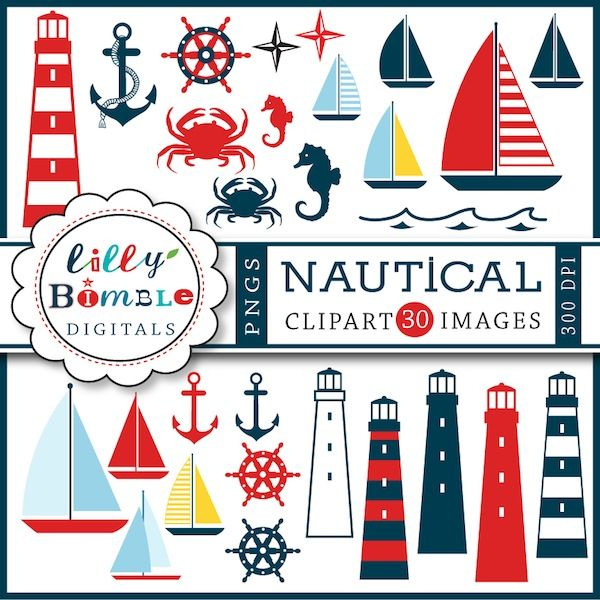 Nautical Clipart - This seaside clipart will be perfect for creating invitations for summer gatherings, stationery, web design embroidery and more.