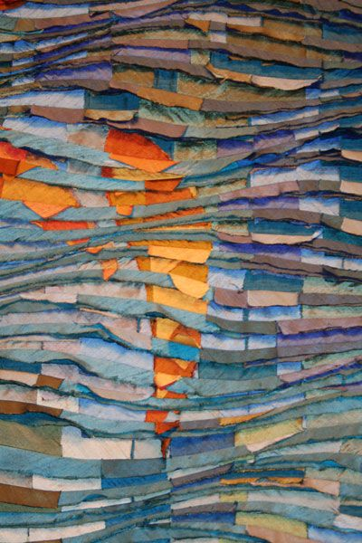 Tim Harding - a master of the layer, stitch and slash surface, from his water series. Reverse applique technique.