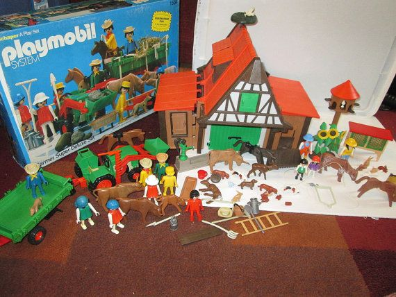 Reserved Large Lot Vintage Playmobil Farm Set Double