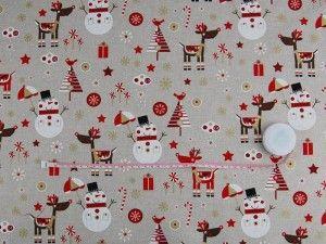 Tkanina dekoracyjna świąteczna - Bałwanki 199