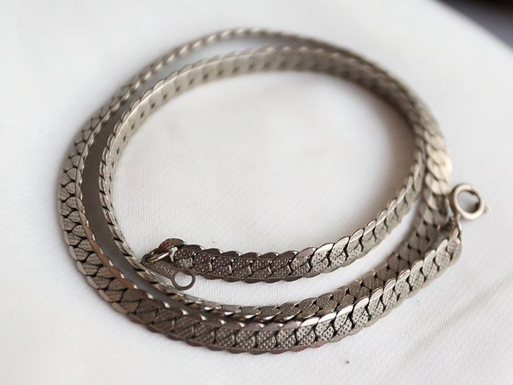 Vintage 80's silver-plated chain wide unisex stylish, vintage Soviet of the USSR