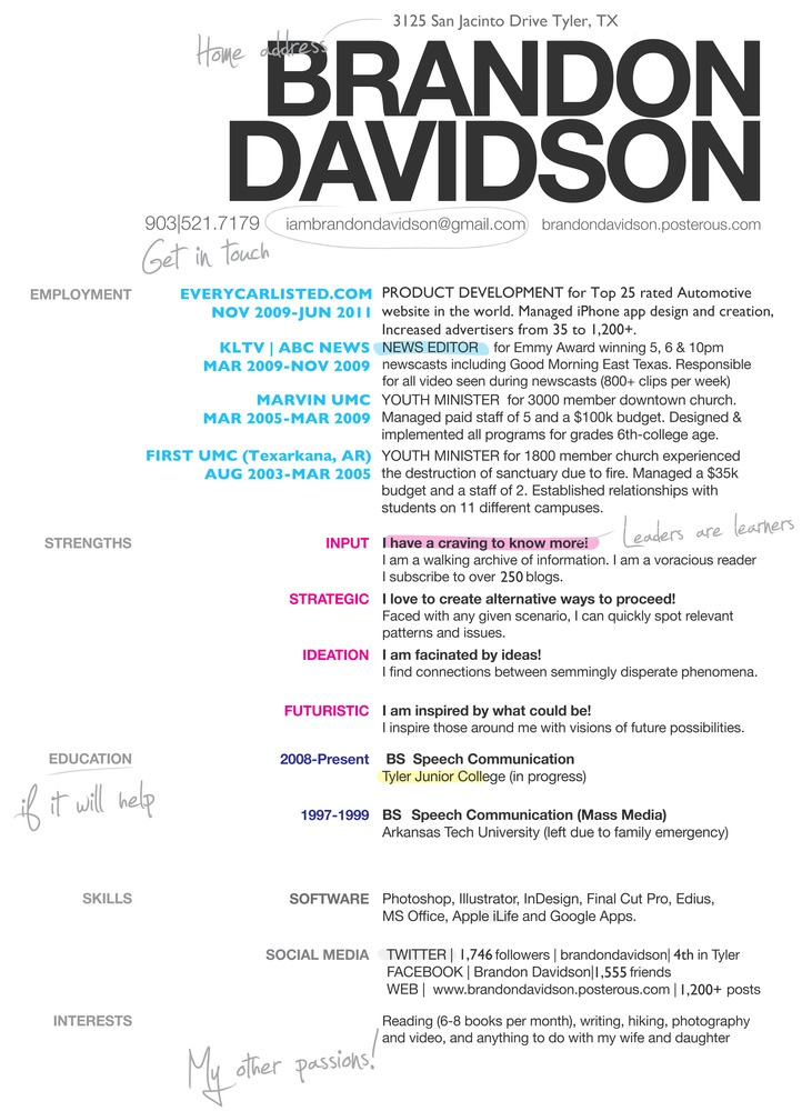 Brandon davidsons awesome resume for future reference