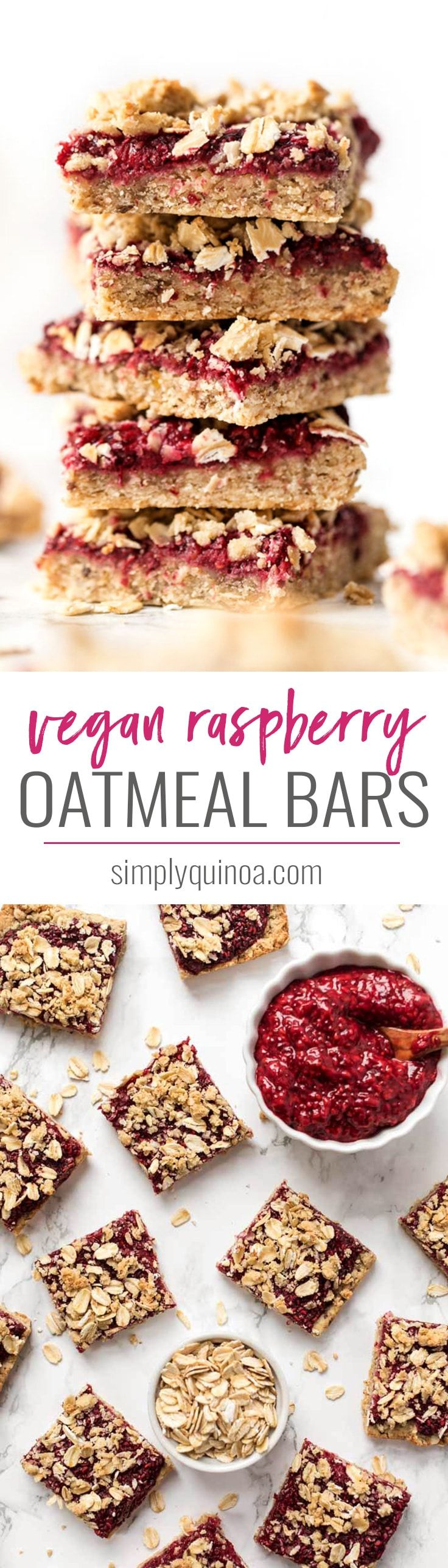 These are the perfect VEGAN Raspberry Oatmeal Bars and they're made with just 9 simple ingredients and use only one bowl! Also healthy, gluten-free & naturally sweetened! Simply Quinoa #oatmealbars #veganbreakfast #simplyquinoa