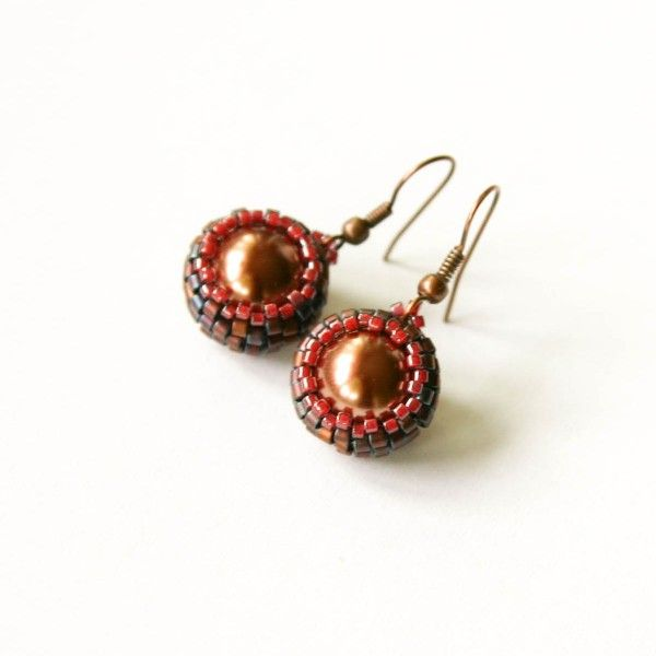 Cappucino pearl beaded earrings