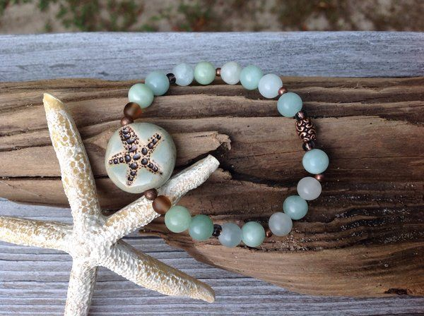 Ocean Themed Green Handmade Beaded Starfish Bracelet | C ~ Breeze Treasures