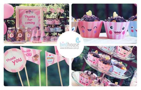 1st Birthday-Cupcake Birthday Party Set- Decorations Package- Printable Birthday Party Decorations
