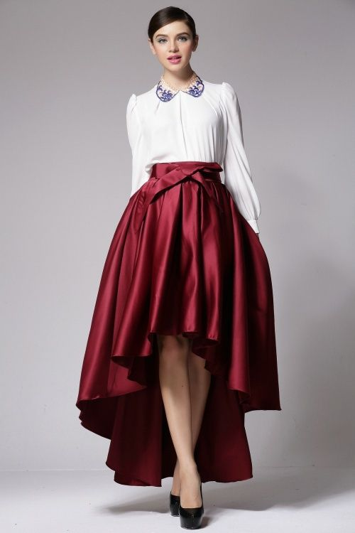 Hi-low hem full skirt in red or black US$30 up to 6xl