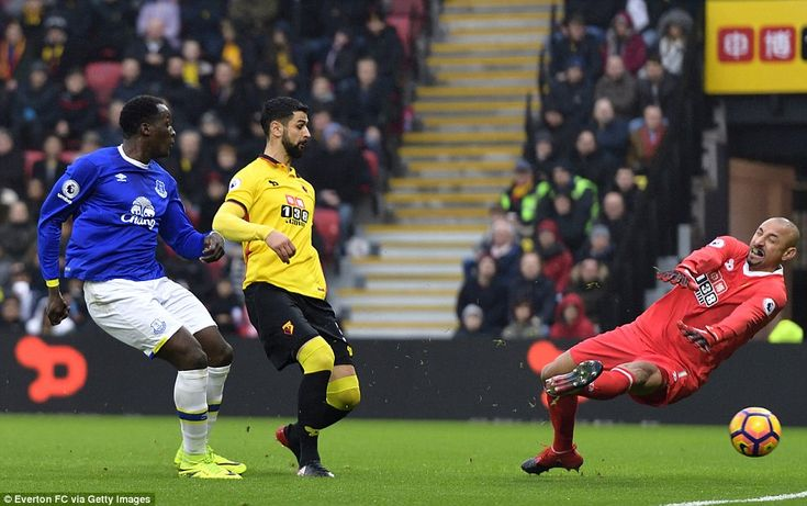 10 December 2016 Romelu Lukaku slips a pass from Gareth Barry past Watford keeper, Gomez, to put Everton into the lead
