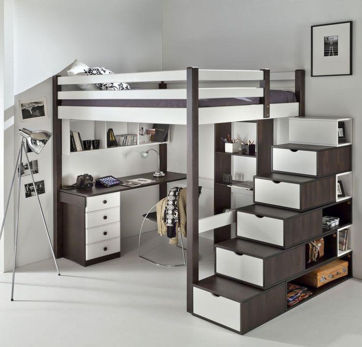 Description Véritable chambre mezzanine ado complète. Très chic contemporaine, elle cache de nombreux rangements.