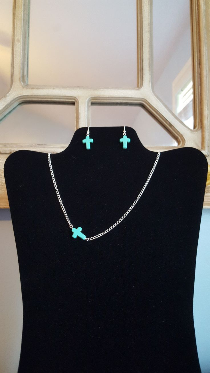 Turquoise Cross Necklace & Earring Set