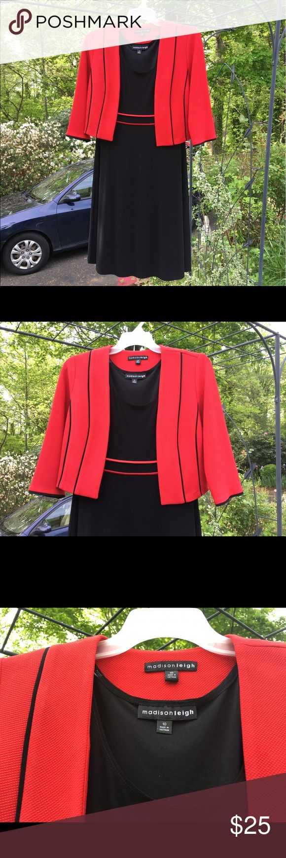 Madison Leigh 2 pc Red Blazer Black Tank Dress 10 Madison Leigh 2 piece red blazer and black tank dress set are size 10. Blazer has a texture and black trim. There are no buttons.  Tank dress has red trim with no zippers or buttons. Made in Vietnam. Shell: 95% polyester 5% spandex. Combo: 94% polyester 6% spandex. Perfect outfit for work and then a night out. Dress very flowy; perfect for dancing. Madison Leigh Dresses Midi