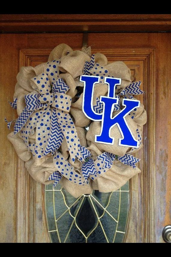 University of Kentucky Burlap Wreath  by WonderfullyCrafted01