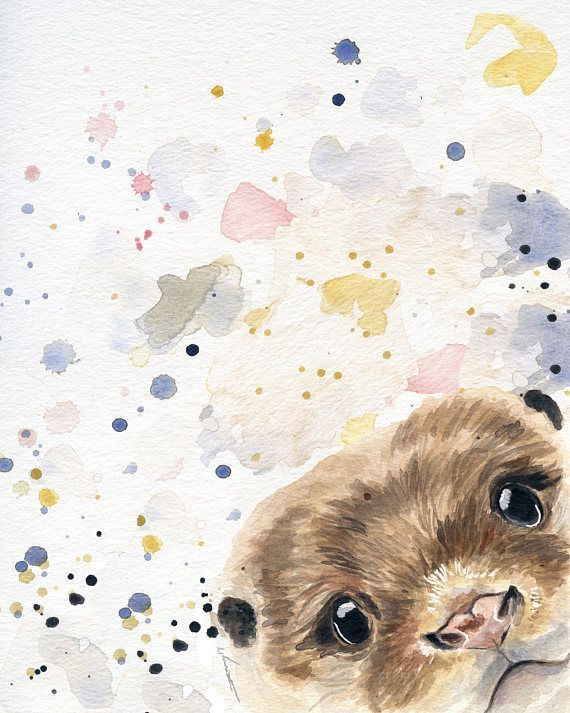 Otter Art Otter Painting Watercolor Otter cabin decor