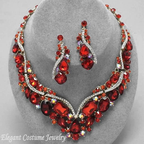 314 best glamorous costume jewelry images on pinterest costume costume jewelry elegant red necklace 1520 c mozeypictures Images
