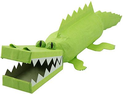 Alligator craft project #tgif_pinparty  You'll need:  • Plastic water bottle • Masking tape • Soap box • Some old cardboard or construction paper • Toilet paper tube